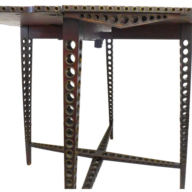 Early 20th Century Early 20th Century Drop-Leaf Wood and Brass-Grommet Table For Sale - Image 5 of 7