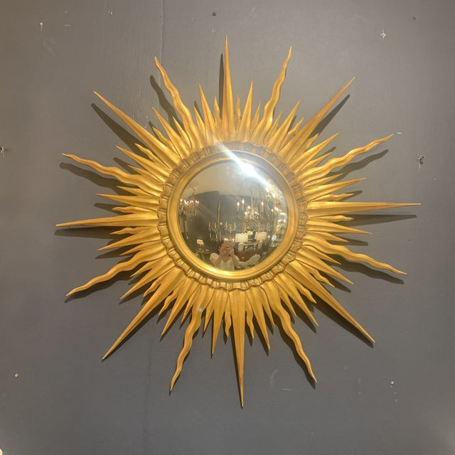 Gold Leaf Sunburst With Convex Mirror For Sale - Image 12 of 13