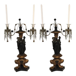 Italian Neoclassic Figural Giltwood Candelabras - a Pair
