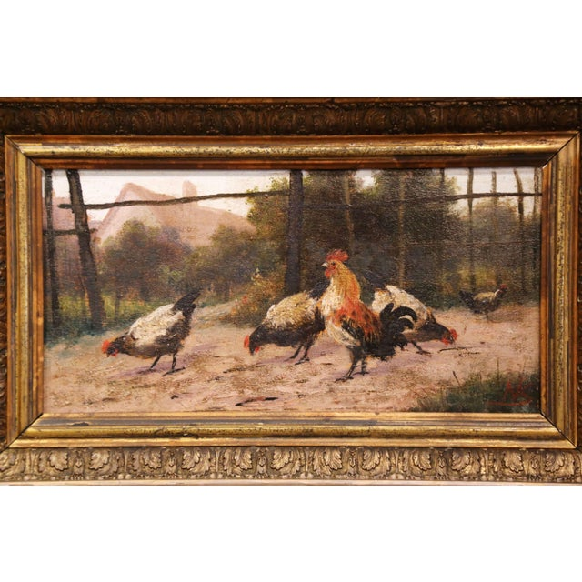 French Mid-19th Century French Oil on Board Chicken Painting in Carved Gilt Frame For Sale - Image 3 of 10