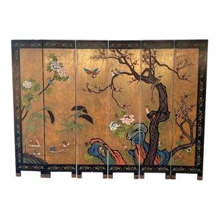 1950s Six-Panel Coromandel Room Divider Wood Painted Screens For Sale