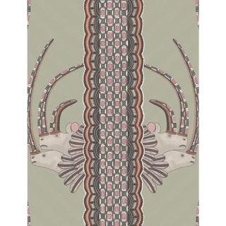 Cole & Son Jabu Wallpaper Roll - Olive & Pink For Sale