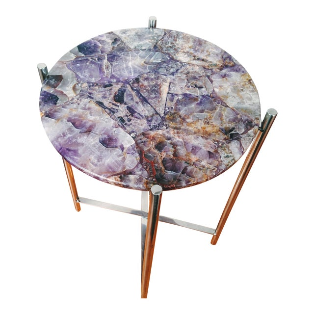 Lavender Amethyst & Chrome Side Table - Image 1 of 9