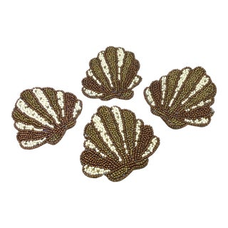 Set of 4 Glass Beaded Coasters For Sale