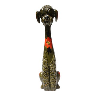 Tall Vintage Japanese Hand-Painted Ceramic Poodle For Sale