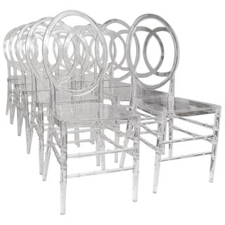 Lucite Stacking Chairs Faux Bamboo Hollywood Regency - Set of 10 For Sale