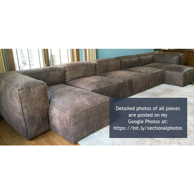 Modern Restoration Hardware Distressed Leather Sectional with Left Chaise + One Armchair For Sale - Image 11 of 12