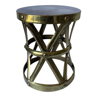 1970s Brass X-Frame Tabouret Stool For Sale