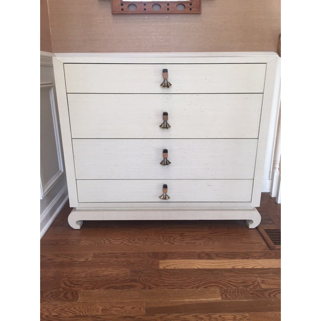 "Bungalow 5 ""Ming"" Large 4 drawer dresser wrapped in lacquered Ivory grasscloth. Chow style feet. Wood pulls with brass..."