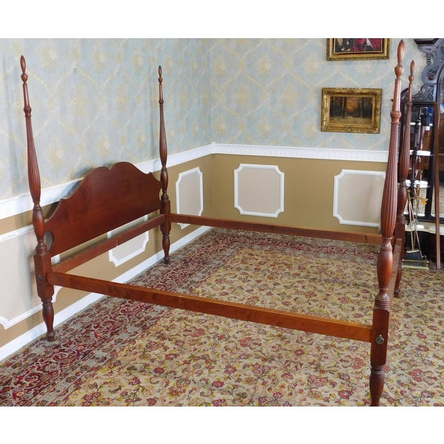Brown Eldred Wheeler Colonial Queen Poster Bed For Sale - Image 8 of 11