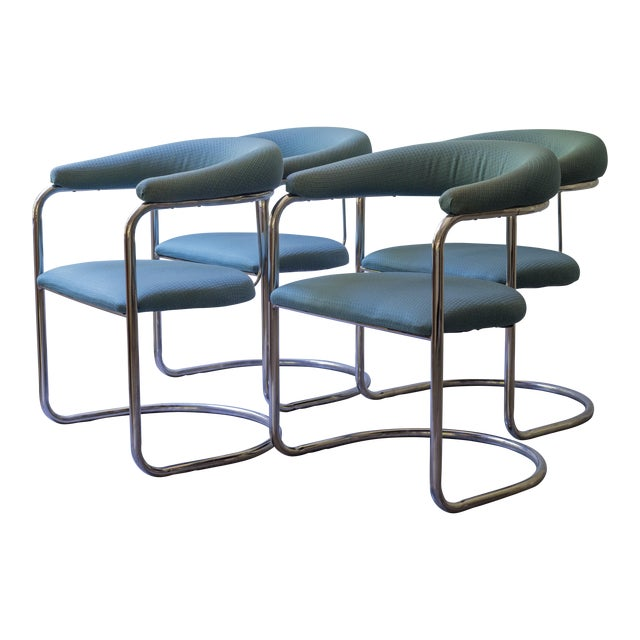 Thonet Tubular Chrome Teal Dining Chairs- Set of 4 - Image 1 of 9