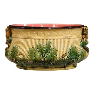 19th Century French Painted Barbotine Jardinière With Squirrel and Nut Motifs