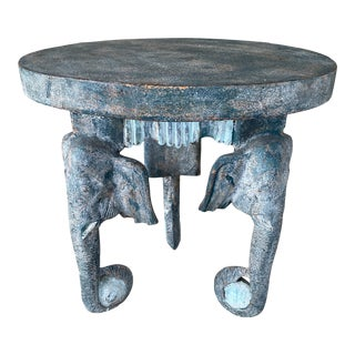 Boho Chic Painted Carved Wood Elephant Side Table For Sale