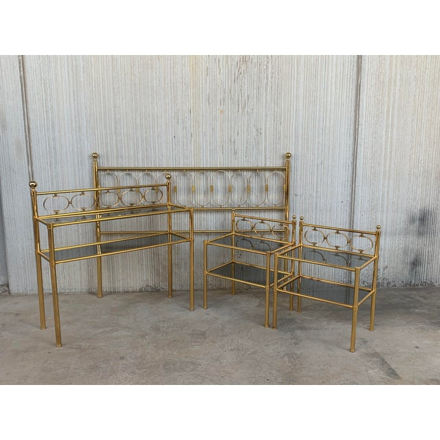 About Mid Century Modern Full Brass Headboard Featuring Gometrical FIgures We have matching console table & nightstands...