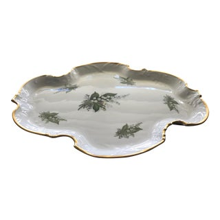 'Lily of the Valley' Limoges Tray with Gold Raised Scalloped Trim For Sale