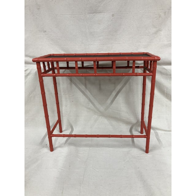 1980s 1980s Hand Painted Bamboo Hall Table For Sale - Image 5 of 5