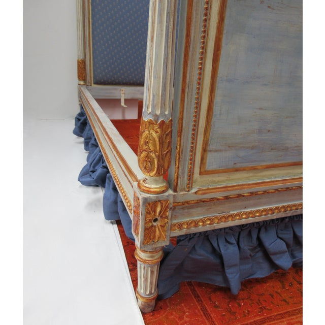 Vintage 19th. Century French Napoleonic Parcel Gilt Painted Full Size Bedframe For Sale - Image 11 of 13