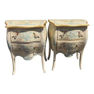 Vintage Italian Paint Decorated Nightstand End Tables