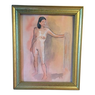 Framed Millennial Pink & Blush Nude Water Color Painting