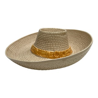 Midcentury Ceramic Dip & Chip Sombrero Serving Tray For Sale