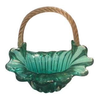 1960s Vintage Italian Murano Green Glass Basket Vase For Sale