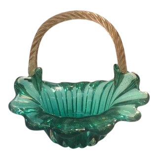 Vintage Murano Handled Basket For Sale