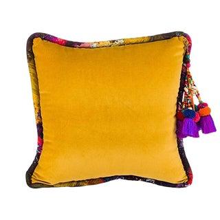 Golden / Bryony Storm Noir Velvet Throw Pillow For Sale