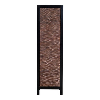 Narrow Cabinet W/ Gobi Design Single Door in Hand Repousse Antique Copper by Robert Kuo, Limited Edition For Sale