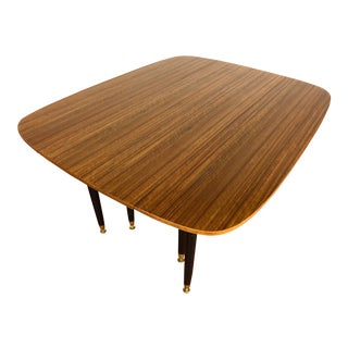 G-Plan E Gomme Mid Century Mahogany Drop Leaf Dining Table With Black Legs For Sale