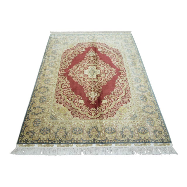 Hand Knotted Turkish Silk Rug - 4′1″ × 5′11″ - Image 1 of 9