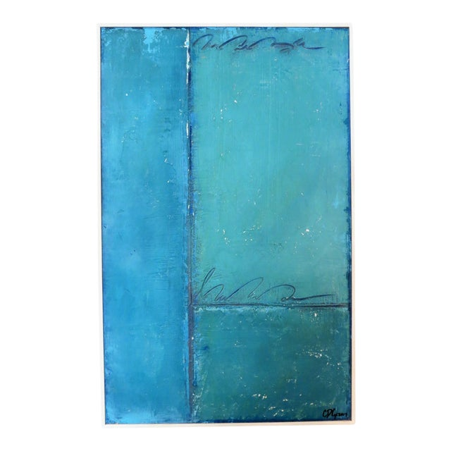 Aqua and Sky Abstract, 3. Mixed Media on Framed Panel by C. Damien Fox For Sale