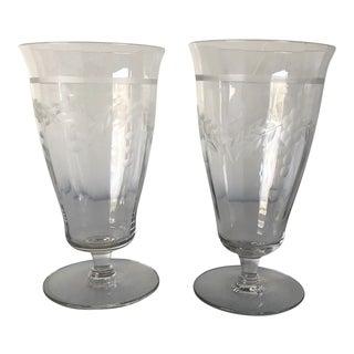 Vintage Elegant Floral Etched Glass Ice Tea Glasses S/2 For Sale