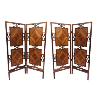 Mid Century Chinoiserie Folding Screens Chinese Fretwork Wood Panels- A Pair For Sale