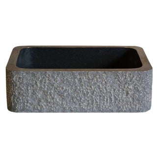 Stone Forest Farmhouse Black Gray Chiseled Granite Stone Apron Front Sink