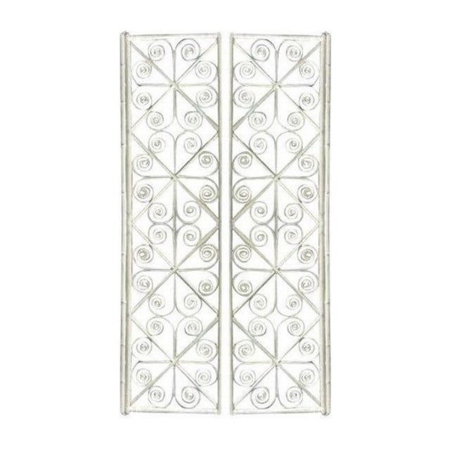 White Vintage Peacock Curl Bamboo Swinging Doors / Entryway or Closet Doors - a Pair For Sale - Image 8 of 8