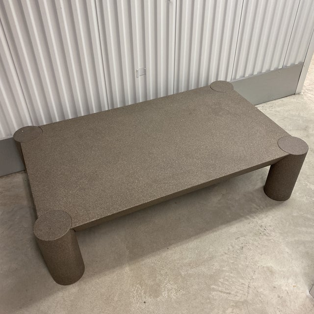 1990s Grey Postmodern Beveled Coffee Table With Thick Column Legs For Sale - Image 5 of 13