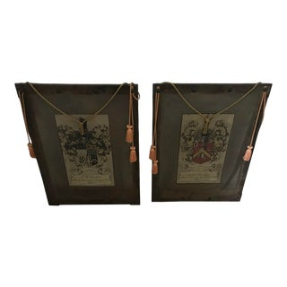 Custom English Crests/Coat of Arms Screen Art - a Pair For Sale