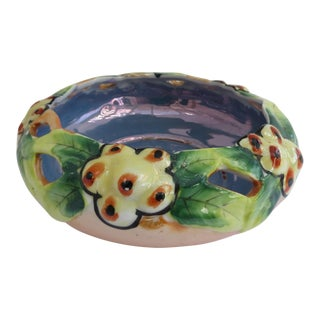 Lusterware Floral Planter Bowl For Sale
