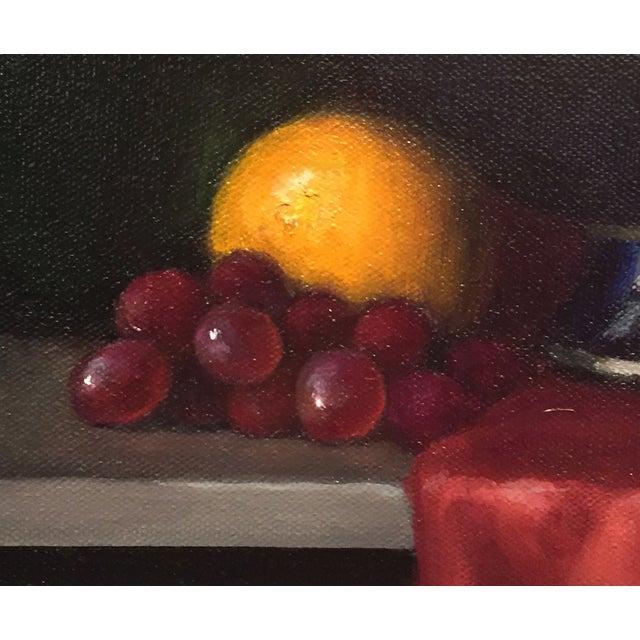 Renaissance Fruit Bowl & Green Bottle Framed Still Life For Sale - Image 3 of 3