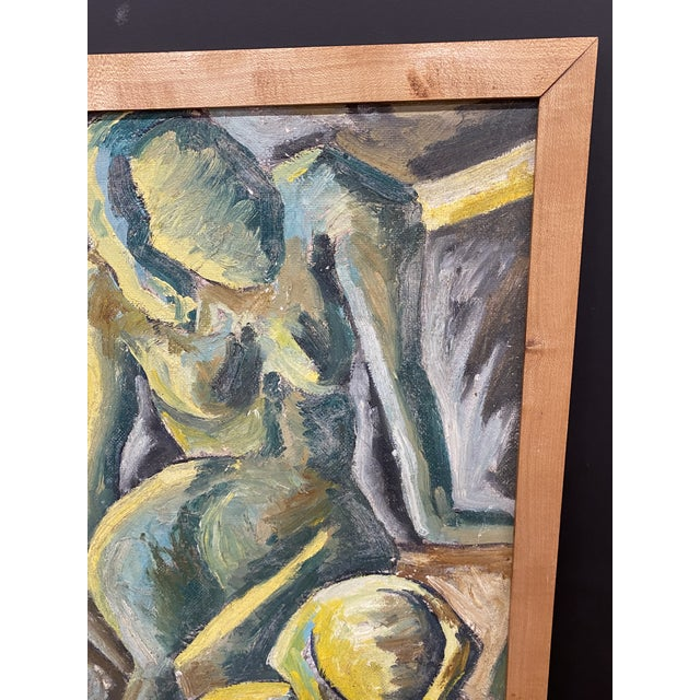 1970s Vintage Oil on Masonite Abstract Mid Century Modern Painting Signed Framed For Sale - Image 5 of 9