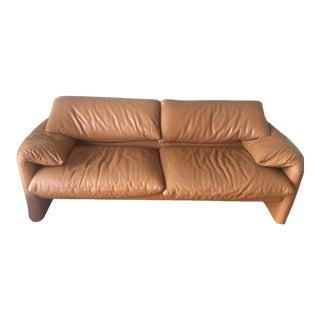 1970s Vintage Cassini Italian Cognac Leather Sofa For Sale
