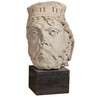 Gothic Style Cast Stone Sculpture on Marble Base