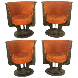 Set Four Paul Evans Sculpted Bronze Chairs For Sale