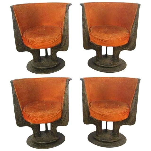 Set Four Paul Evans Sculpted Bronze Chairs For Sale