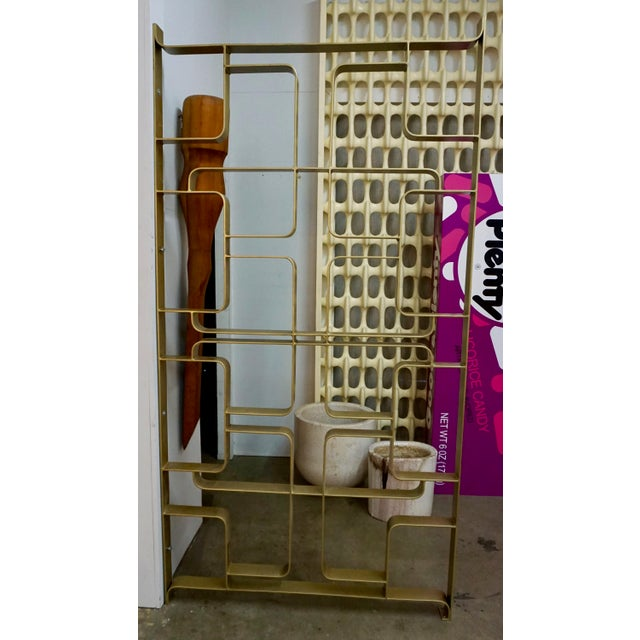 Hollywood Regency Brass and Steel Room Dividers or Gates - a Pair For Sale - Image 3 of 7