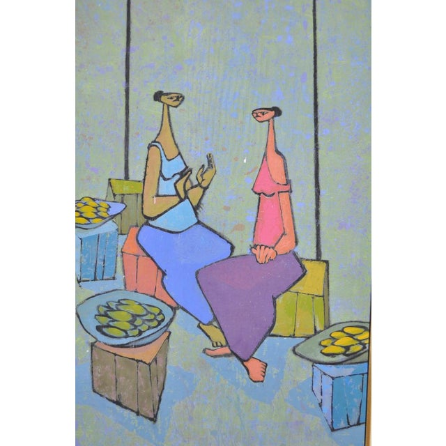 Mid-Century Modern Oil Painting by G. Richardson c.1959 These colorfully dressed vendors are having a conversation under...