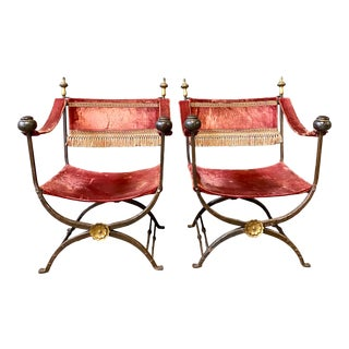 19th Century Italian Campaign Curule Chairs - a Pair For Sale