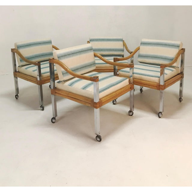 Wrapped Rattan & Chrome Armchairs - Set of 4 For Sale In Tampa - Image 6 of 6