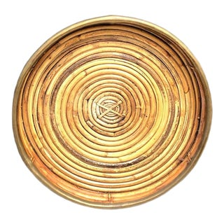 Round Rattan Serving Tray W/ Brass Edge Border For Sale