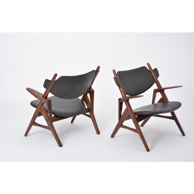 Pair of 1950s Vintage Black Midcentury Chairs For Sale - Image 12 of 12